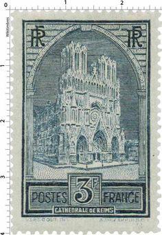 France Stamp - Cathédrale de Reims (1930)