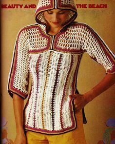 DIY Lace Beach Hoodie PDF Vintage Crochet Pattern