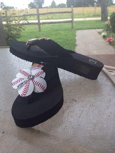 Baseball flip flops via Etsy