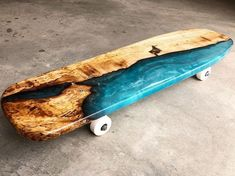 I finally got some trucks and wheels on my first river skateboard made from spalted Maple! I've had this idea for a… Longboard Design, Skateboard Design, Skateboard Decks, Longboard Decks, Resin Crafts, Resin Art, Skate And Destroy, Skate Art, Cool Skateboards