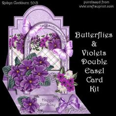 """Butterflies Violets Double Easel Card Kit on Craftsuprint designed by Robyn Cockburn - A shaped easel card at the back with a smaller easel supporting an arch at the front. Most of the decoupage pieces can be placed where ever you wish. Card is approx. """" x 7"""" when closed flat.Kit contains- card base"""