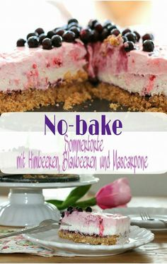 Eine leckere und fruchtige Torte, die ganz ohne Backen auskommt..mit Himbeeren, Blaubeeren und Mascarpone - so lecker!