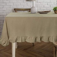 ColorBird French Vintage Ruffle Trim Tablecloth Washable Cotton Linen Table Cover for Kitchen Farmhouse Rustic Weddin... Barnyard Party, Farm Party, Barn Parties, Table Covers, Ruffle Trim, Cottage Style, Rustic Farmhouse, French Vintage, Cotton Linen
