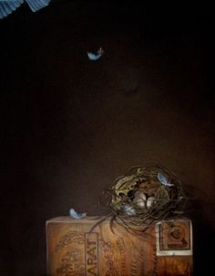 Startled Bluebird nest eggs blue bird feather vintage cigar box oil painting realism, painting by artist JEANNE ILLENYE