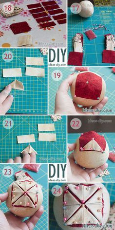 new ideas for quilted christmas tree ornaments fabric balls Diy Quilted Christmas Ornaments, Folded Fabric Ornaments, Christmas Tree Decorations, Christmas Tree Ornaments, Christmas Diy, Ornaments Ideas, Ball Ornaments, Homemade Ornaments, Homemade Christmas Gifts