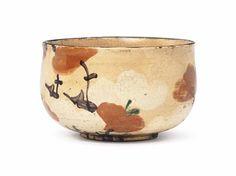Lot 29 - A Chawan [Tea Bowl] Impressed Kenzan, Edo period (19th century) Of shioge [salt jar] form, decorated