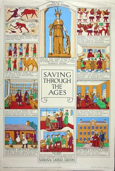 Description: 'Saving through the Ages', a poster produced by National Savings. Date: 1937 Our catalogue Reference: NSC Prehistoric Man, Gold Reserve, Savings Bank, Sumerian, Trivia, Age, History, Infographics, Poster
