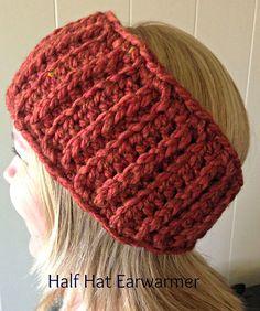Half Hat Earwarmer - free crochet pattern by Carrie Piper Crochet Quilt, Knit Or Crochet, Crochet Scarves, Crochet Clothes, Free Crochet, Crochet Headbands, Crocheted Hats, Crochet Accessories, Hair Accessories