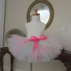 Pink and Mint Tutu Skirt with Pink Satin Bow,  Birthday, Photo Prop,  wedding