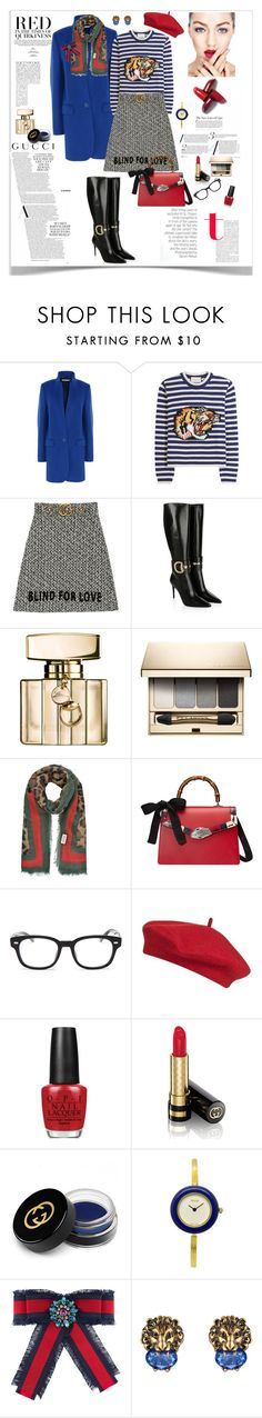 """""""Gucci Style"""" by ellie366 ❤ liked on Polyvore featuring STELLA McCARTNEY, Gucci, Clarins, Topshop, OPI, Anja, GetTheLook, WorkWear, stripes and gucci"""
