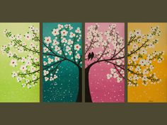 Colorful tree wall art. I WANT!  Although not sure what room it would work in with my colors!