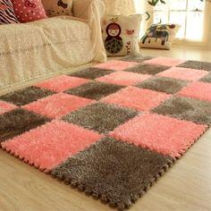 DIY Soft Plush No Slip Interlocking Shag Carpet Squares – Classy Stores Online Carpet Mat, Shag Carpet, Diy Carpet, Carpet Stains, Rugs On Carpet, Carpet Ideas, Carpet Squares, Foam Flooring, Hardwood Floors