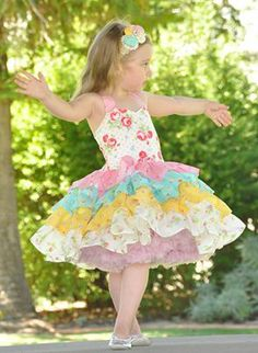 """""""Thought I'd show you the dress I made from the flower sugar fabric I bought from you. It is for a charity auction at Betty Bubs Design to raise money for dementia support and research."""" -Janelle B. How To Raise Money, Charity, Harajuku, Flower Girl Dresses, Dementia, Wedding Dresses, Fabric, Kids, Auction"""