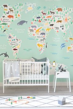 Create an enchanting space for your child to grow up in. Adorable characters from all over the globe gather over their native countries, all set against a refreshing mint green background.