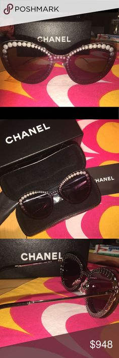 NIB! CHANEL 2018 Exclusive Vanity Fair Sunglasses NIB! CHANEL 2018 Exclusive Sunglasses 100% Authentic Guaranteed  Style 4236H C. 108/S6 Haven't seen this style for sale yet? That's because these were exclusive to the Vanity Fair Oscars After Party - given to all the Hollywood Stars in attendance. You can't even get them in the store yet.  Cat eye shape with pearl detailing around inner frame Gradient lenses Metal arms Comes with hardcase and box Never been worn. Excellent New Condition. No…