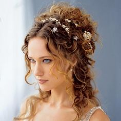 Fairy inspired wedding hairstyles (long hair hairstyles with accessories).