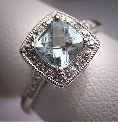 Vintage Aquamarine Wedding Ring Diamond Art Deco