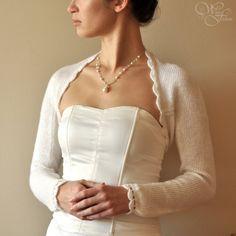 BRIDAL SHRUG Hochzeit Bolero lange Ärmel Alpaka warme Farbe Creme