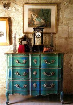 Blue Painted Chest :: I terior Designer: DAVID HARE