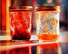"""Saw this at the National Gallery of Canada last week. MARY PRATT """"Smears of Jam, Lights of Jelly"""" Oil on canvas x cm Canadian Painters, Canadian Artists, Christopher Pratt, Mary Pratt, There's Something About Mary, Art For Sale Online, Still Life Art, Photorealism, Art Boards"""