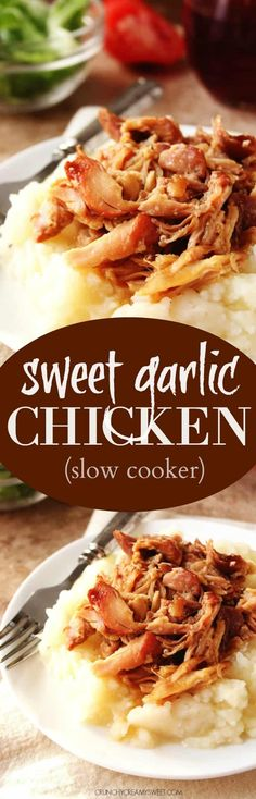 Slow Cooker Sweet Garlic Chicken – a five ingredient chicken dish that cooks in a slow cooker! Perfect for a comfort food dinner on a Sunday or over rice on a weekday. - 1 c brown sugar, 3 tablespoon cider vinegar, 3 tsp soy sauce, 5 cloves of garlic Slow Cooker Huhn, Slow Cooker Roast, Crock Pot Slow Cooker, Pressure Cooker Recipes, Slow Cooker Chicken, Slow Cooker Enchiladas, Slow Cooker Lasagna, Crockpot Recipes, Chicken Recipes