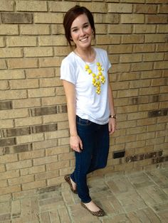 plain white tee, dark skinnies, animal print flats and yellow bubble necklace