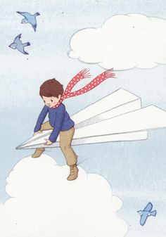 wonderful boy on paper plane :)