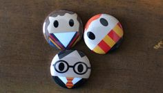 Harry Potter inspired 1 inch pins! Harry, Ron & Hermione! Perfect for park bags, lanyards, and jackets!