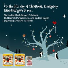 Emergency Essentials 12 days of giveaways--Day 5: Yoders Canned bacon, Buttermilk Pancake Mix, and Hash Browns