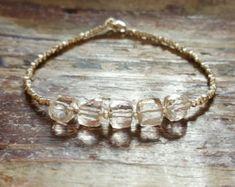 Quartz Bracelet Quartz Bracelets Beaded Bracelet Womens Gift for Women April Birthstone Bracelet Quartz Bead Bracelet Clear Quartz Jewelry