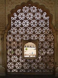 Window, Amber Fort, Jaipur. India
