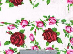 Rosy Outlook Stretch Cotton Seersucker - Pink/Green/White | Gorgeous FabricsGorgeous Fabrics