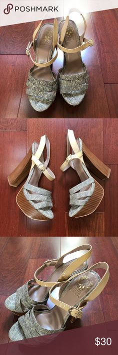 Vince Camuto Jaquard Print Heels Beautiful platform wedge heels! In excellent condition! Vince Camuto Shoes Heels