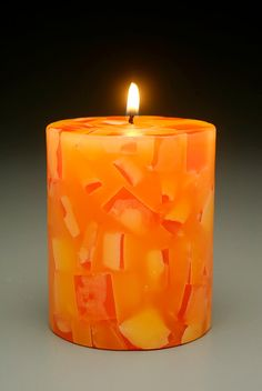 Orange Mosaic Pillar Candle by CosmicCandleCo on Etsy, $8.95