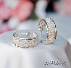 Braided Metalwork Silver Hoop Stud Earrings by NMBeadsJewelry