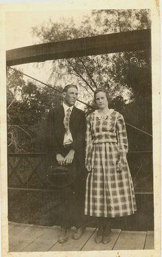 Jim and Laura Hadaway on Bridge near Bridgeport, Texas, 1919