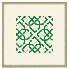 "Made in the USA, this artful wall decor showcases a links motif inspired by traditional needlepoint designs.   Product: Wall decorConstruction Material: FeltFeatures: Made in the USADimensions: 18"" H x 18"" WNote: Frame is not included"