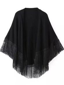 With Tassel Loose Cape Coat
