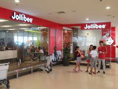 Jollibee is the Philippines' favorite fast food chain. This outlet is in Terminal 1 at Ninoy Aquino International Airport in Manila. Jollibee, Fast Food Chains, International Airport, Manila, Philippines