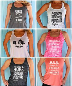 Christian Women's Workout Tank Tops. Athleisure at its best! Christian Inspired Workout Tanks to wear to the gym or to church or on errands! Hebrews 12:1. Isaiah 40:31. Mark 9:23. Be Still & Know that I am God. Proverbs 31:25. Fitness Motivation. Motivational Quote. Bible Verse. Scripture. Running Tank Top. Christian Workout Clothing. And Let Us Run with Endurance the Race that is Set Before Us!