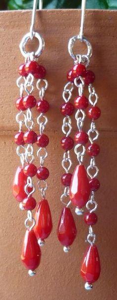 Coral Jewerly, Coral, Drop Earrings, Handmade, Fashion, Moda, Jewlery, Hand Made, Bijoux