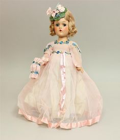14' ALL ORIGINAL TAGGED 1943 MADAME ALEXANDER COMPOSITION 'BRIDAL PARTY PINK' DOLL, AN ORIGINAL BOX. Original owner doll. (Wendy Ann...