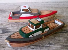 Wooden Toy Boats by FriendlyFairies - Carved in Oregon from solid wood, then wood-burned to create the effect of planks and nails, each one-of-a-kind clipper is hand-embellished with nontoxic paint and triple-finished with a nontoxic sealant.