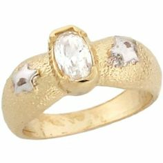 14k Two Toned Gold Petite White CZ April Birthstone Stars Baby Ring Jewelry Liquidation. $163.77. Made with Real 14k Gold!. Comes with FREE fancy black leatherette ring box!. Made in USA!