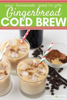 coffee drink Need a little pick me up over the holidays Enjoy the flavors of the Christmas season in this homemade Gingerbread Cold Brew Coffee. Great for making hot or iced lattes or other coffee drinks and perfect for DIY gifts. via memeinge Cold Brew Coffee Recipe, Making Cold Brew Coffee, Huevos Rancheros, How To Make Gingerbread, Gingerbread Coffee Recipe, Christmas Coffee, Christmas Holidays, Christmas Deserts, Christmas Drinks