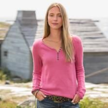 You'll love the unique design of our relaxed, embellished henley shirt.