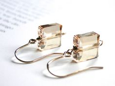 Dangle Crystal Earrings, 14k Gold Filled, Gift for Her, Fall Accessories, Gift Box on Etsy, $36.00