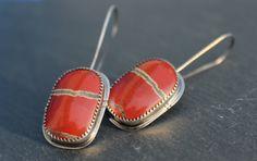 sterling silver brecciated red jasper earrings by StringAndGrass