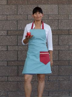 "The Red, White and Tiffany is a limited edition apron in our petite sizing - just right for teens and gals under 5""4.' Plus who can resist Tiffany blue?"