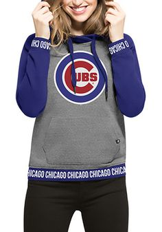 '47 Chicago Cubs Womens Grey Encore Revolve Hoodie